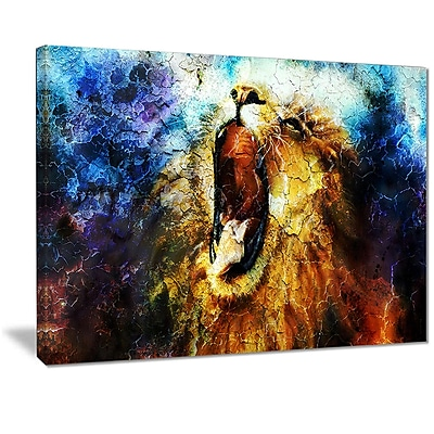 East Urban Home Mighty Lion Emerging Photographic Print on Canvas; 40 '' W x 30 '' H