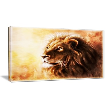 East Urban Home Brown Lion Fractal Photographic Print on Canvas; 40 '' W x 20 '' H