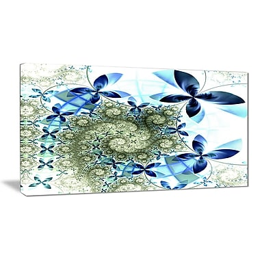 East Urban Home Blue and Green Fractal Flowers Graphic Art Print on Canvas; 32 '' W x 16 '' H