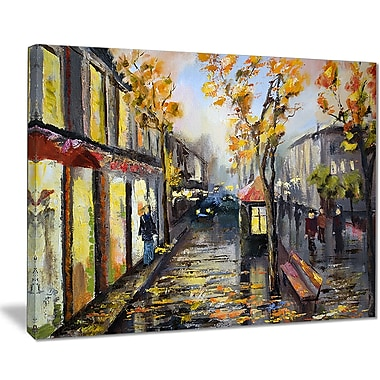 East Urban Home City in Yellow Shade Oil Painting Print on Canvas; 40 '' W x 30 '' H