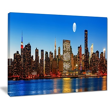 East Urban Home Late Evening NYC Skyline Panorama Photographic Print on Canvas; 40 '' W x 30 '' H
