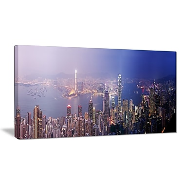East Urban Home Hong Kong from Day to Night Photographic Print on Canvas; 40 '' W x 20 '' H