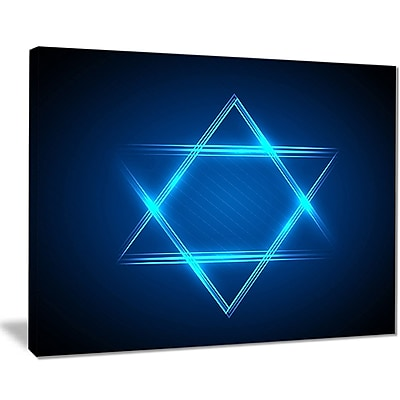 East Urban Home Neon Star of David Graphic Art Print on Canvas; 20 '' W x 12 '' H