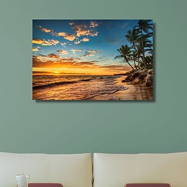 Ebern Designs 'Sunset at the Beach' Photographic Print on Canvas; 30'' H x 45'' W x 1.25'' D