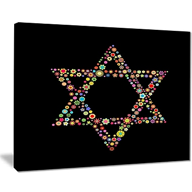 East Urban Home Star of David Shape Graphic Art Print on Canvas; 20 '' W x 12 '' H