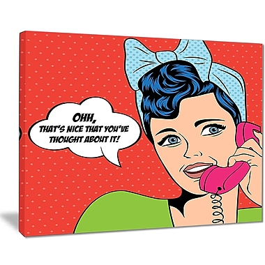 East Urban Home Woman Talking on Phone Graphic Art Print on Canvas; 20 '' W x 12 '' H