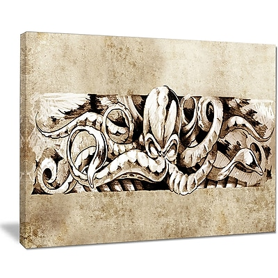 East Urban Home Octopus Sketch in White Shade Graphic Art Print on Canvas; 20 '' W x 12 '' H