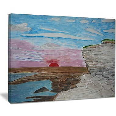 East Urban Home Sunset Seashore Oil Painting Print on Canvas; 40 '' W x 30 '' H