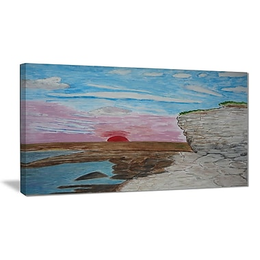 East Urban Home Sunset Seashore Oil Painting Print on Canvas; 32 '' W x 16 '' H