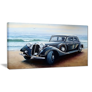 East Urban Home Retro Car on Sea Shore Oil Painting Print on Canvas; 32 '' W x 16 '' H