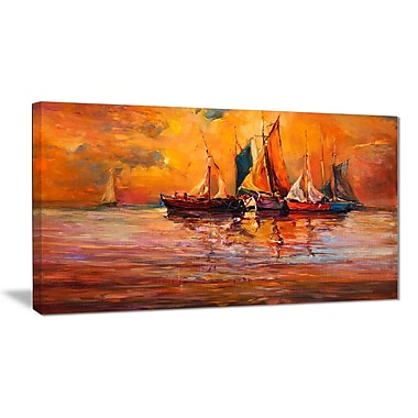 East Urban Home Boats and Ocean in Red Oil Painting Print on Canvas; 40 '' W x 20 '' H