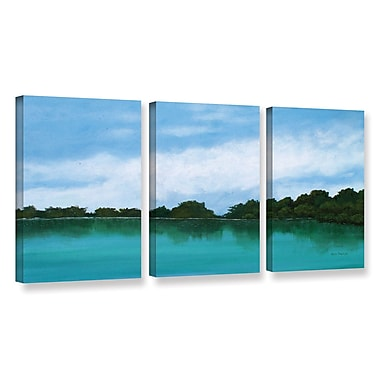 Highland Dunes Mountain Lake 3 Piece Painting Print on Wrapped Canvas Set; 18'' H x 36'' W x 2'' D