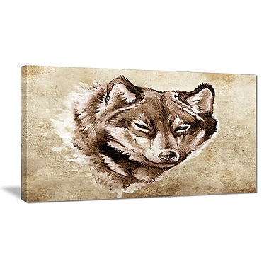 East Urban Home Wolf Head Tattoo Sketch Graphic Art Print on Canvas; 40 '' W x 20 '' H