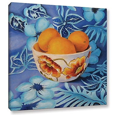 Charlton Home Lemons in a Bowl Painting Print on Wrapped Canvas; 14'' H x 14'' W x 2'' D