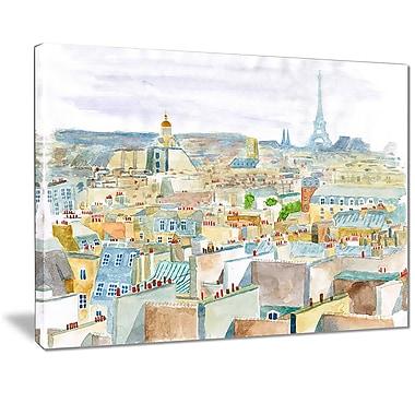 East Urban Home City of Paris Graphic Art Print on Canvas; 20 '' W x 12 '' H