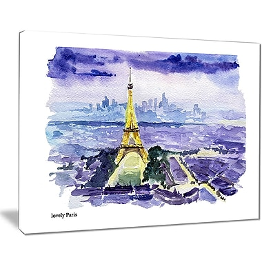 East Urban Home Eiffel Tower on Blue Background Graphic Art Print on Canvas; 40 '' W x 30 '' H