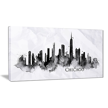 East Urban Home Chicago Black Silhouette Graphic Art Print on Canvas; 32 '' W x 16 '' H