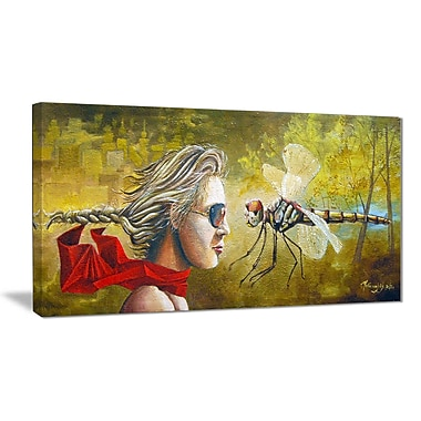 East Urban Home Human and Dragon Fly Graphic Art Print on Canvas; 40 '' W x 20 '' H