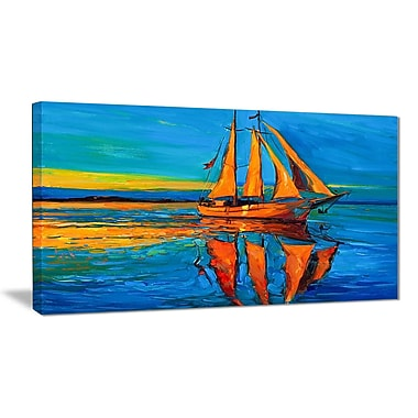 East Urban Home Brown Sailing Boat Oil Painting Print on Canvas; 32 '' W x 16 '' H