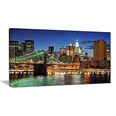 East Urban Home Big Apple after Sunset Photographic Print on Canvas; 40 '' W x 20 '' H