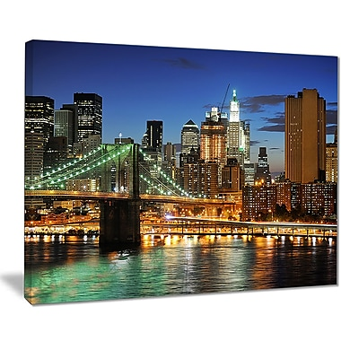 East Urban Home Big Apple after Sunset Photographic Print on Canvas; 20 '' W x 12 '' H