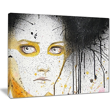 East Urban Home Beautiful Girl w/ Yellow Eyes Graphic Art Print on Canvas; 32 '' W x 16 '' H