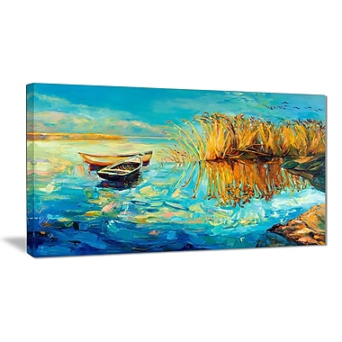 East Urban Home Colorful Lake w/ Boats Oil Painting Print on Canvas; 32 '' W x 16 '' H