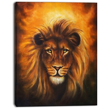 East Urban Home Lion Head w/ Golden Mane Photographic Print on Canvas; 30 '' W x 40 '' H