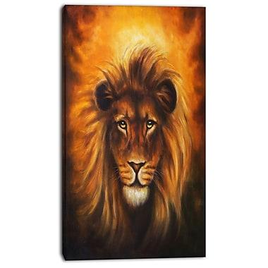 East Urban Home Lion Head w/ Golden Mane Photographic Print on Canvas; 20 '' W x 40 '' H