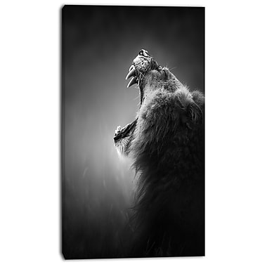 East Urban Home Lion Displaying Teeth Photographic Print on Canvas; 20 '' W x 40 '' H