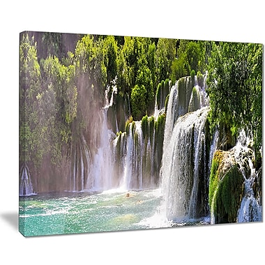 East Urban Home Krka Waterfall Landscape Graphic Art Print on Canvas; 40 '' W x 30 '' H