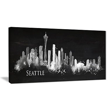 East Urban Home Seattle Dark Silhouette Graphic Art Print on Canvas; 32 '' W x 16 '' H