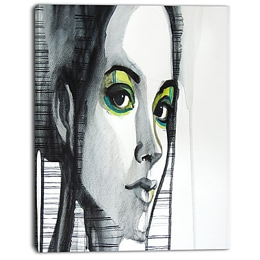 East Urban Home Black Illustrated Girl Oil Painting Print on Canvas; 12 '' W x 20 '' H