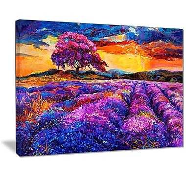 East Urban Home Colorful Lavender Fields Photographic Print on Canvas; 20 '' W x 12 '' H