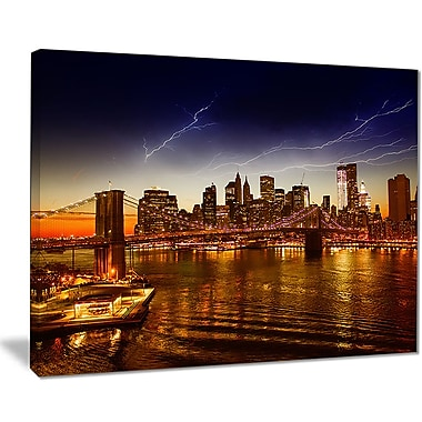 East Urban Home Manhattan Sunset on East River Photographic Print on Canvas; 20 '' W x 12 '' H