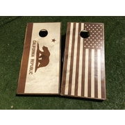 WestGeorgiaCornhole Stained California and USA Flag Cornhole (Set of 2)