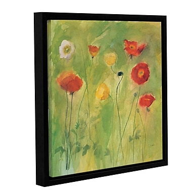 Alcott Hill 'Poppies in Breeze' Framed Painting Print on Wrapped Canvas; 18'' H x 18'' W x 2'' D