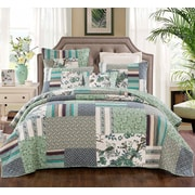August Grove Beachworth Cotton Floral Patchwork Green Quilt; Queen