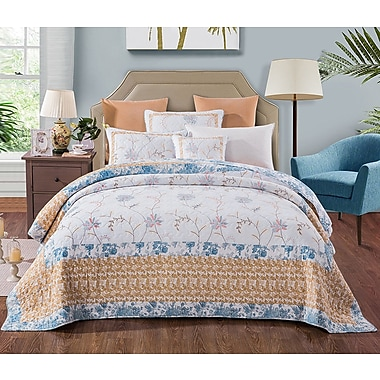 August Grove Belina Cotton Floral Embroidery Patchwork Blue Yellow Quilt; King