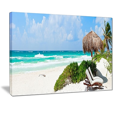East Urban Home Calm Caribbean Beach Panorama Oil Painting Print on Canvas; 20 '' W x 12 '' H