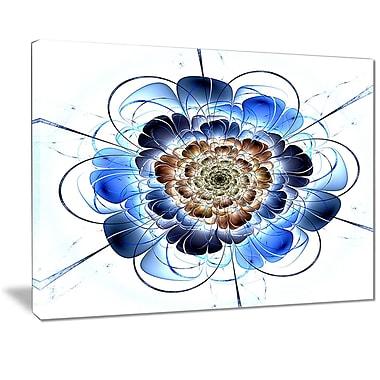 East Urban Home Dark Blue Fractal Flower Oil Painting Print on Canvas; 20 '' W x 12 '' H