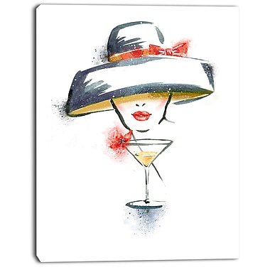 East Urban Home Woman w/ Hat and Cocktail Oil Painting Print on Canvas; 12 '' W x 20 '' H