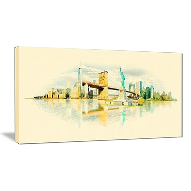 East Urban Home New York Panoramic View Graphic Art Print on Canvas; 32 '' W x 16 '' H