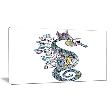 East Urban Home Colorful Seahorse Watercolor Photographic Print on Canvas; 40 '' W x 20 '' H