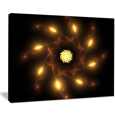 East Urban Home Glowing Yellow Radial Fractal Flower Art Graphic Art Print on Canvas