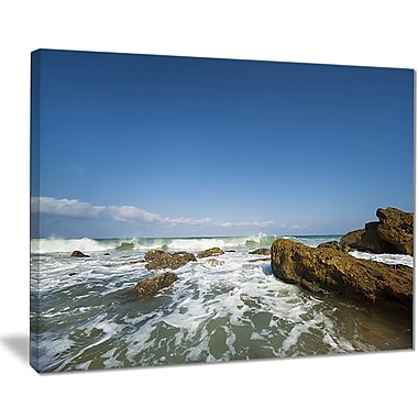 East Urban Home Sea w/ White Waves Graphic Art Print on Canvas; 20 '' W x 12 '' H