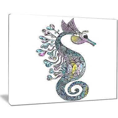 East Urban Home Colorful Seahorse Watercolor Photographic Print on Canvas; 20 '' W x 12 '' H
