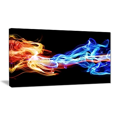 East Urban Home Red and Blue Smoke Abstract Graphic Art Print on Canvas; 40 '' W x 20 '' H