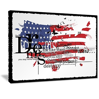 East Urban Home Vintage Fashion USA Flag Photographic Print on Canvas; 20 '' W x 12 '' H