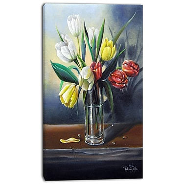 East Urban Home Red White Yellow Tulips Graphic Art Print on Canvas; 20 '' W x 40 '' H